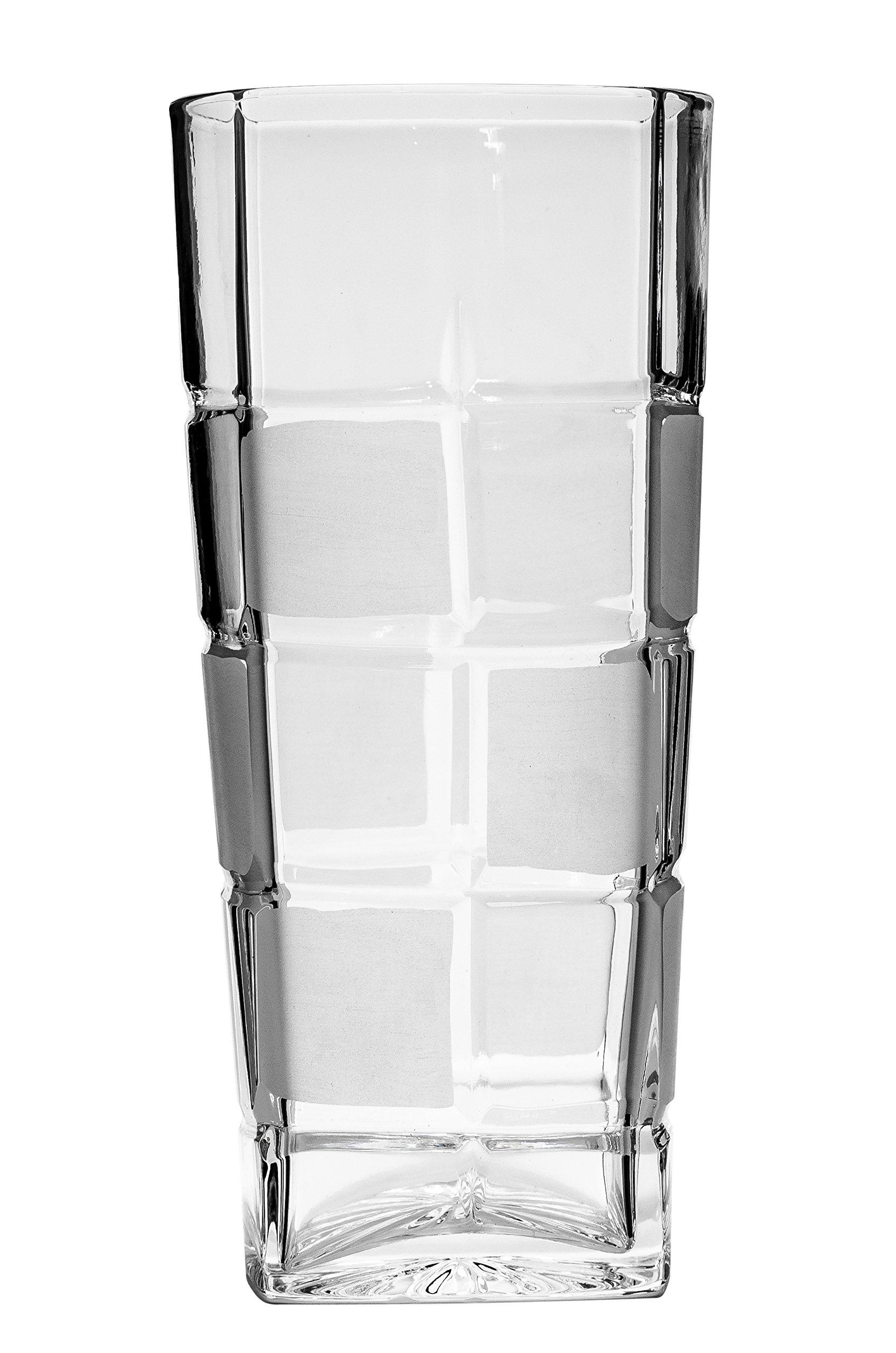 Neman GL8016, 10 Oz. Hand-Made Crystal Highball Cocktail Glasses, High Vintage Water Juice Beverage Glasses, Wedding Drinkware, Set of 6