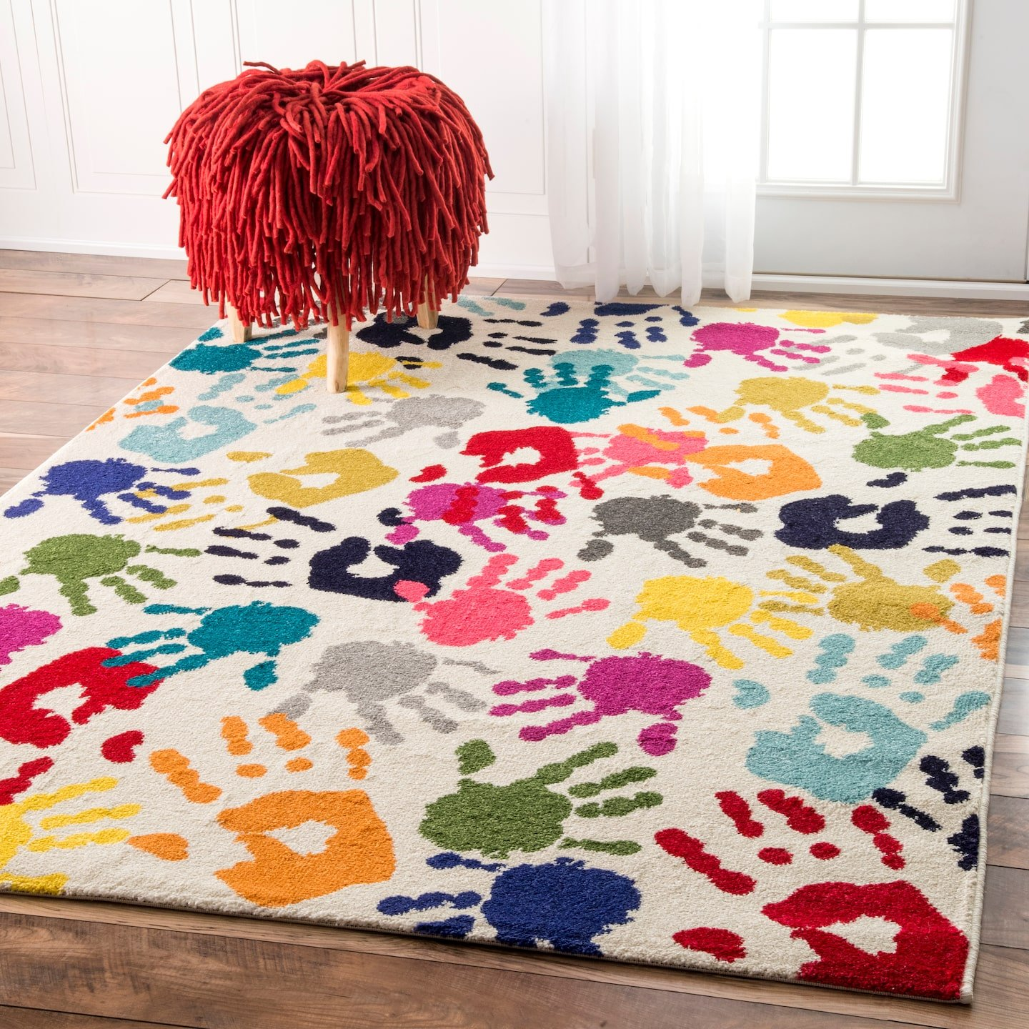 nuLOOM Handprint Collage Kids Nursery Area Rugs, 5' x 8', Multicolor