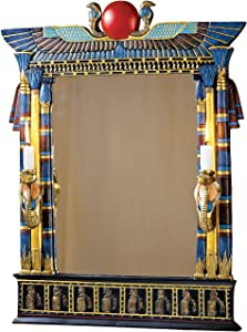 Design Toscano Wadjet Egyptian Wall Mirror with Cobra Sconces,Full Color