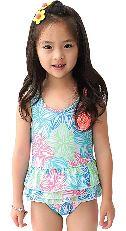 Girls Princess Floral Swimwear One Piece Bathing Suit Hollow-Out Ruffles  Beach Wear for Infant