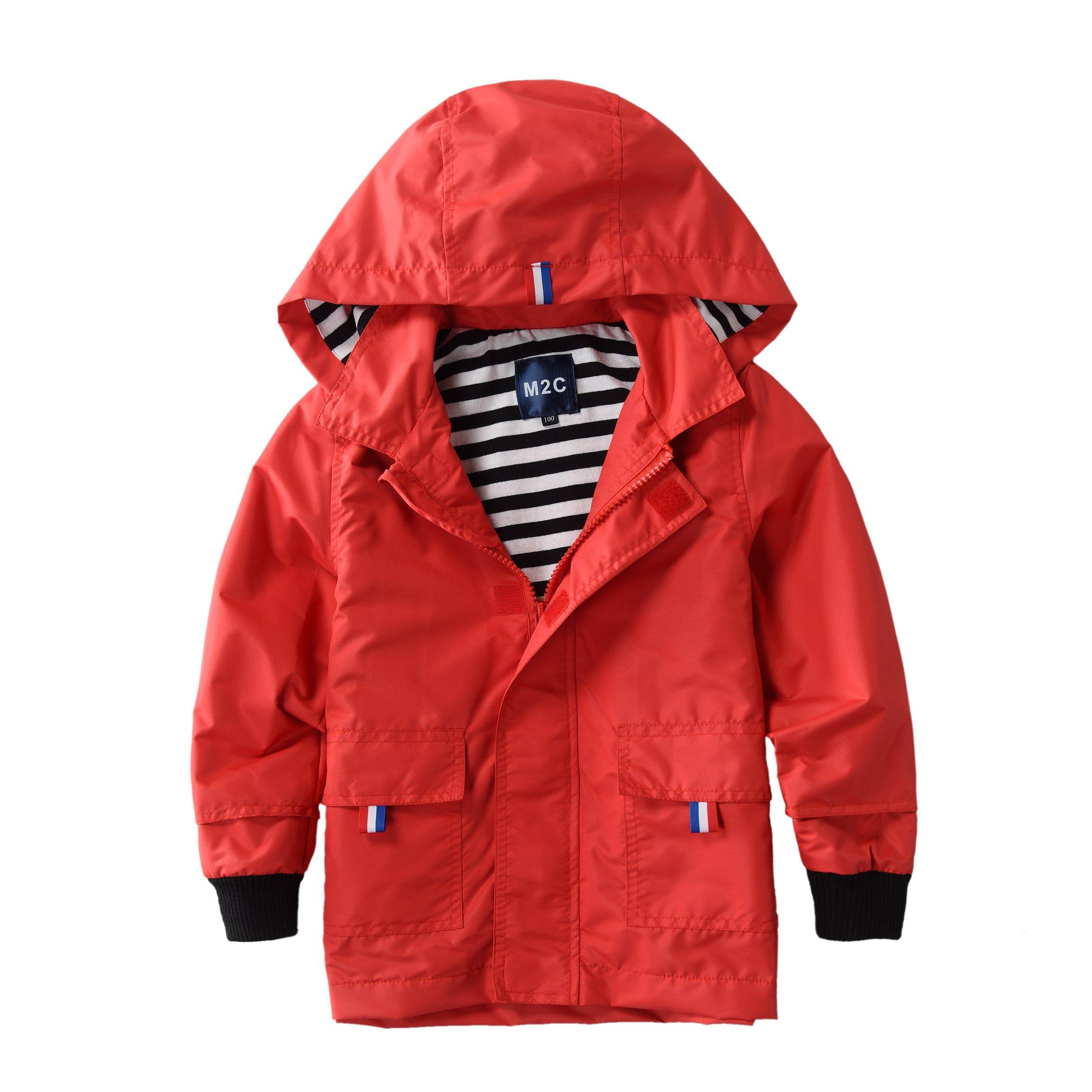 M2C Boys & Girls Raincoat Hooded Jacket Outdoor Light Windbreaker 3T Red