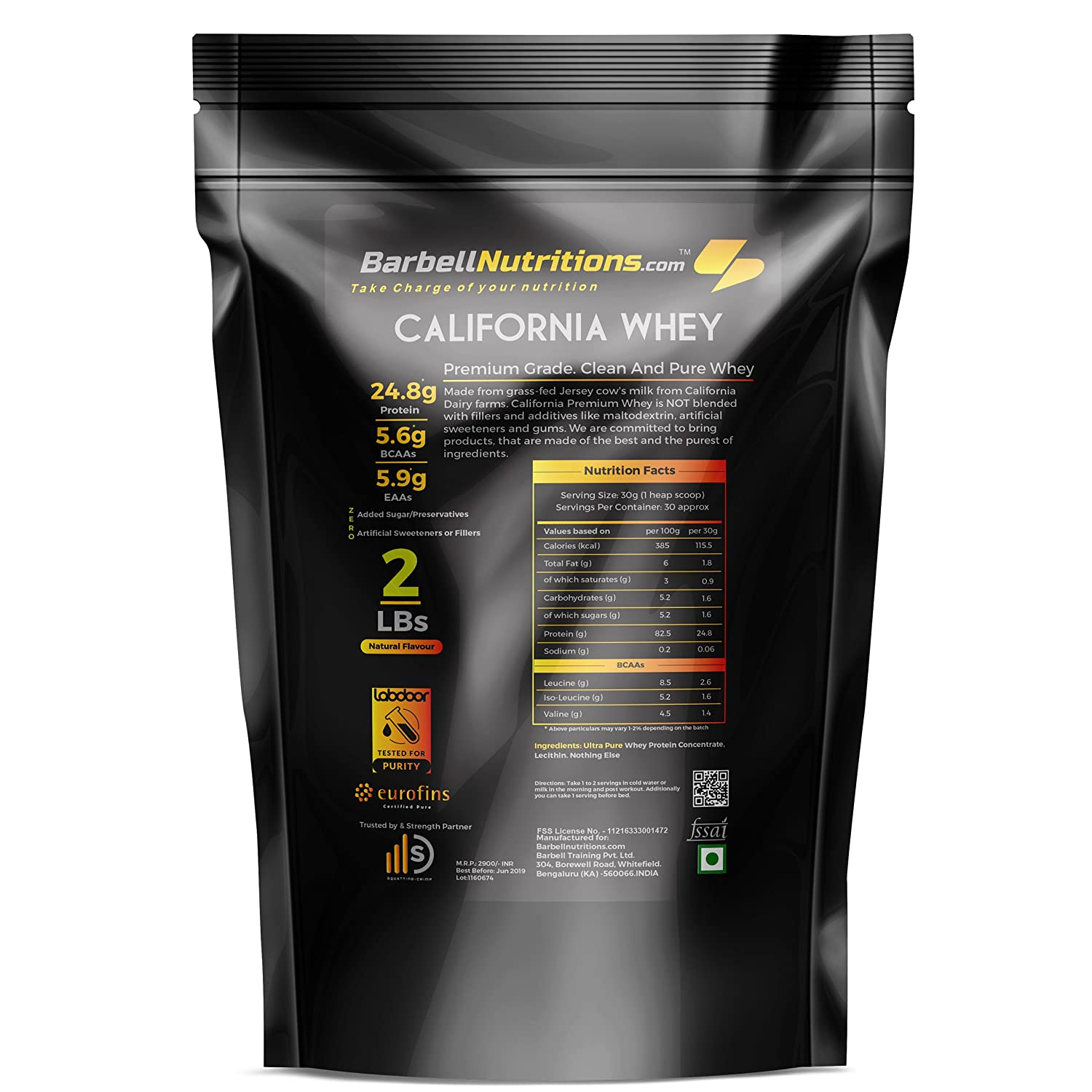 f1abd4e487d74 Barbell Nutrition s California Whey All Clean 100% Whey Protein - Natural  Flavour - 2 Lbs (907 g)  Amazon.in  Health   Personal Care