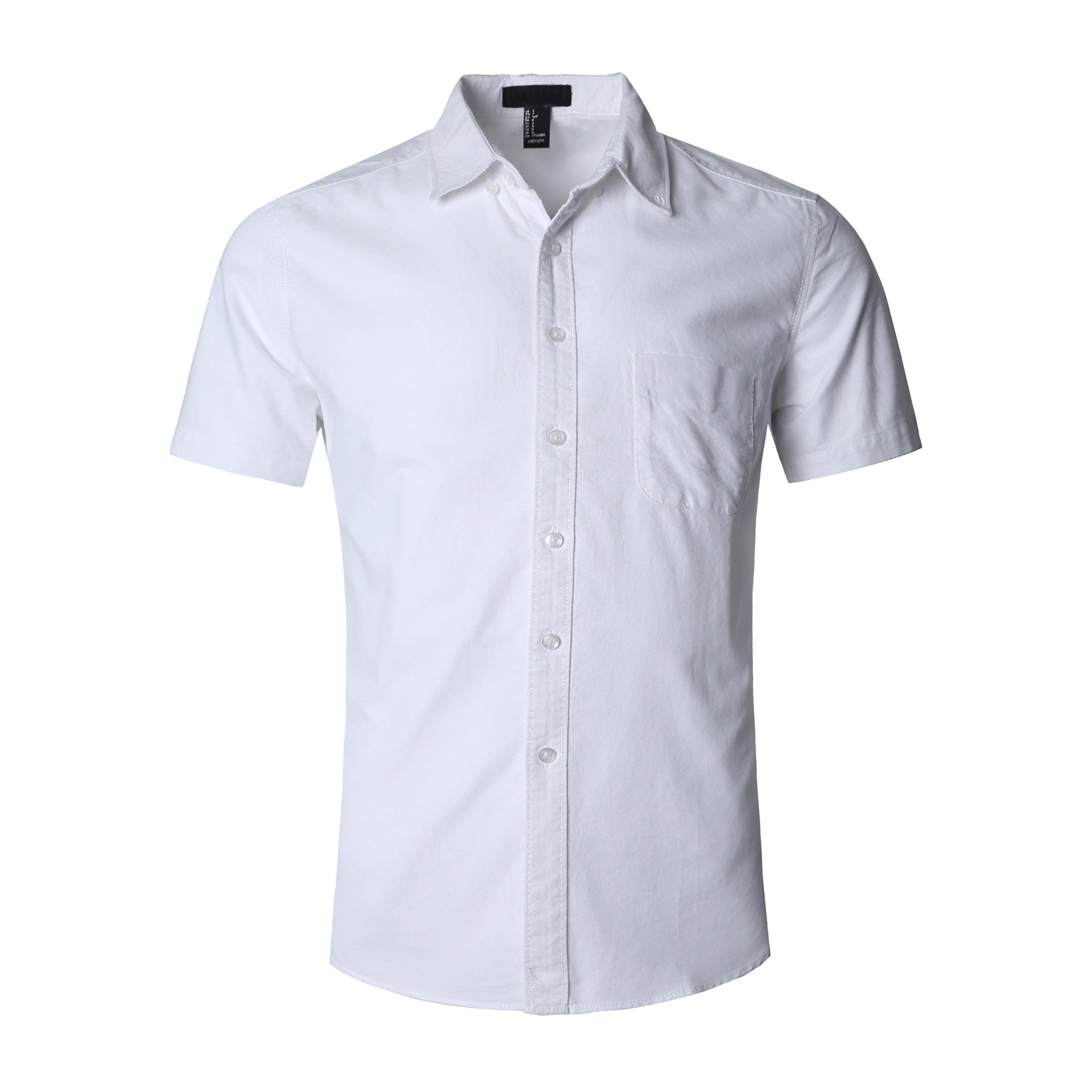 NUTEXROL Men's Short Sleeve Cotton Solid Fitted Button Down Oxford Shirts White L