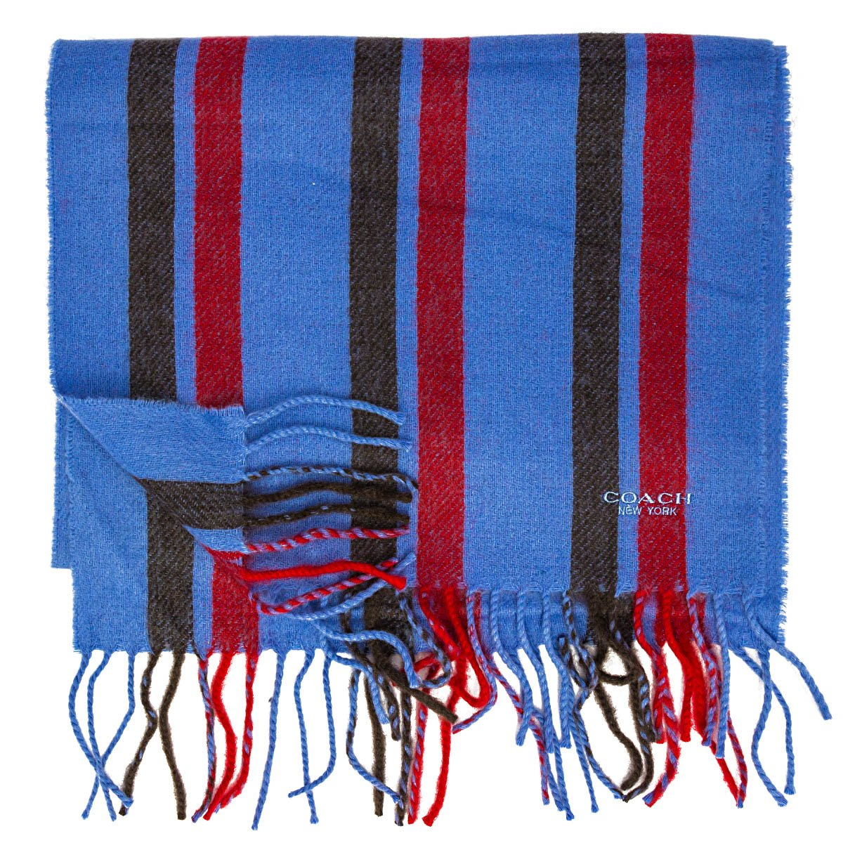 coach mens 100/% cashmere winter scarf with classic stripes