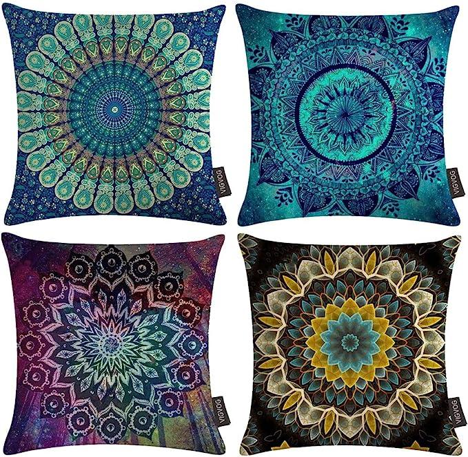 20X20X4 Inch Square Blue Gold Mandala Box Cushion Covers New Cotton Pillow Cover