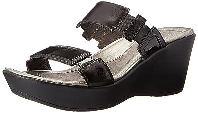 c6b25664af5cf9 NAOT Footwear Women s Wedge Sandal Treasure Black Madras Lthr Black Patent  Lthr - 35 M