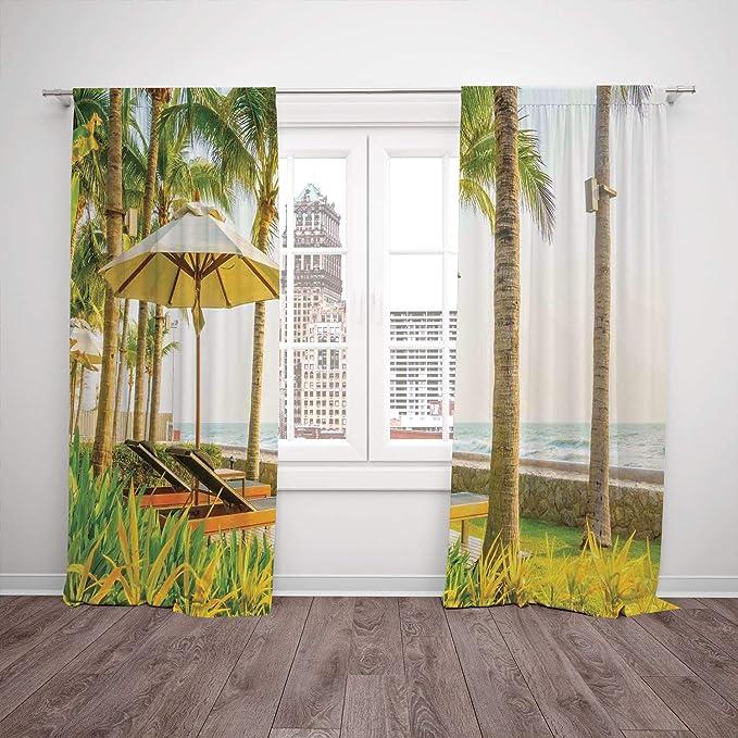 Juego de 2 cortinas para ventana, paraguas y sillas de cocina con ...