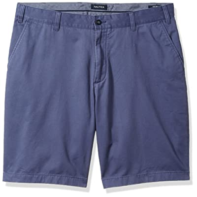 Nautica Men's Big and Tall Cotton Twill Flat Front Chino Short, Blue Indigo, 44W: Clothing