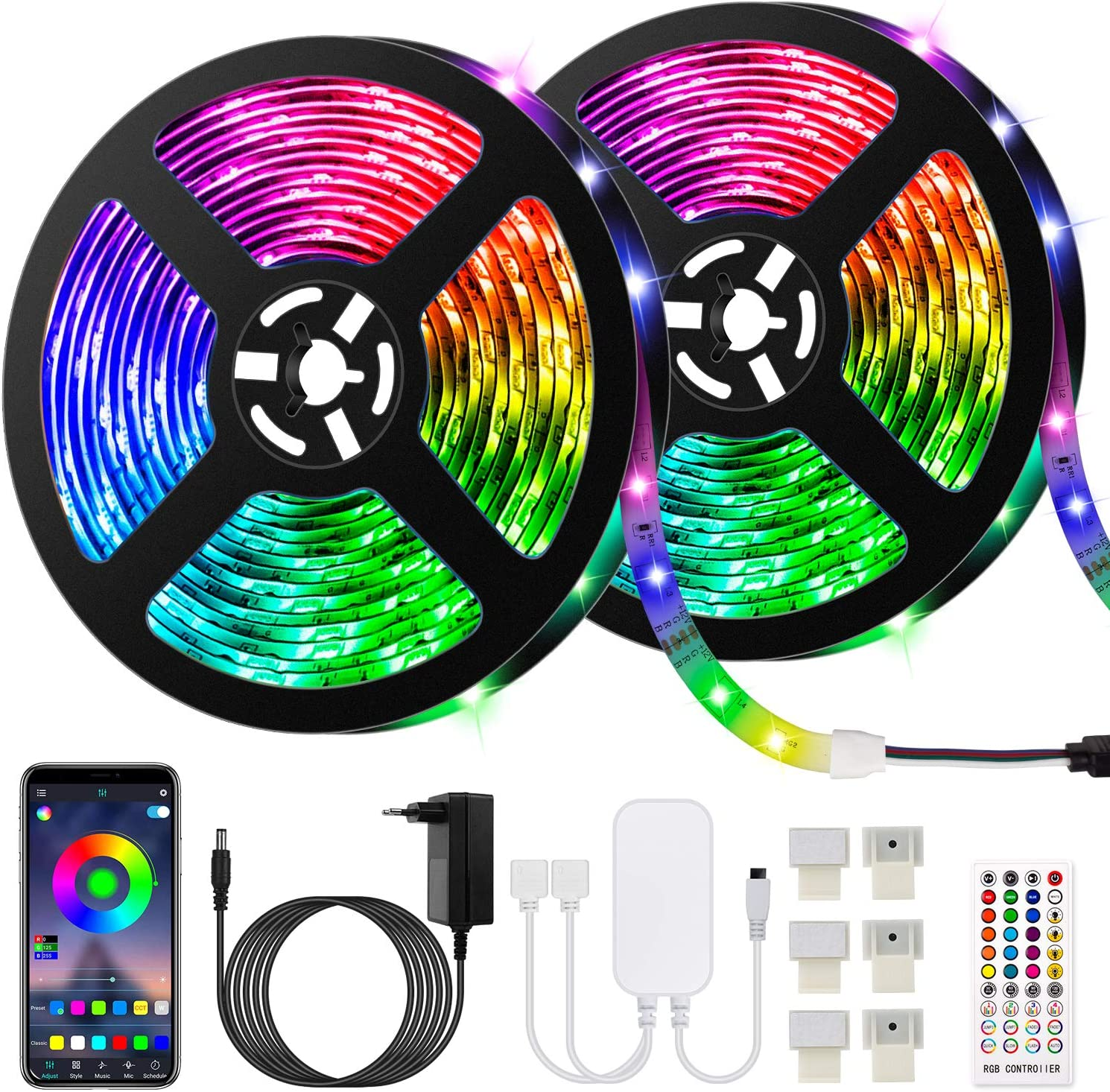 10M Bluetooth Tiras LED Musical 5050 RGB, Akapola Tiras de Luces LED Iluminación con 12V 300 LEDS, Función Musical, Horario Personal, Control de APP y de Control Remoto, Impermeable IP65, Adaptador