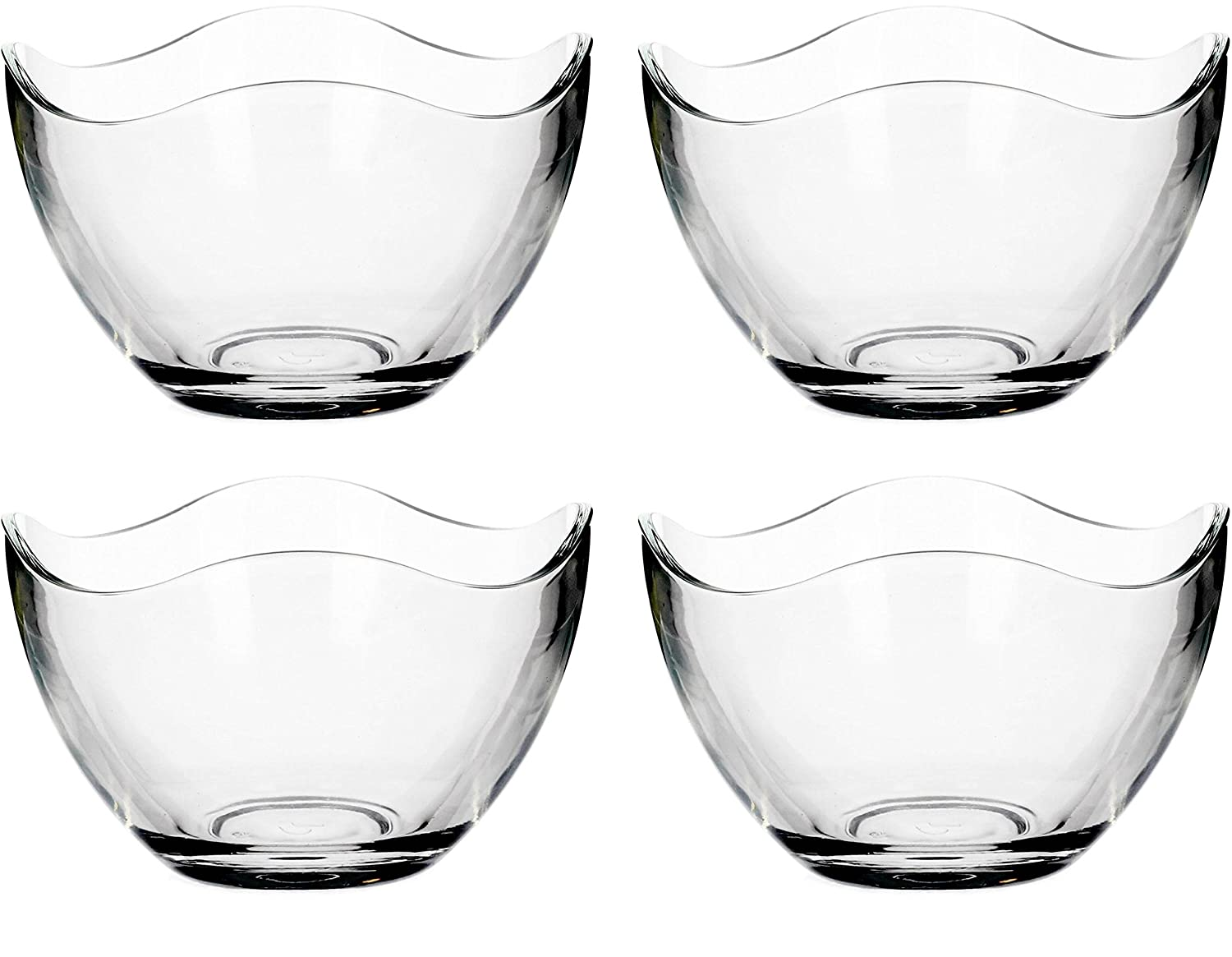Circleware 55644 Limited Edition Glassware Serveware Fruit, Dessert and Food Serving Dish Gala Glass Salad Bowls, Set of 4, 5.25