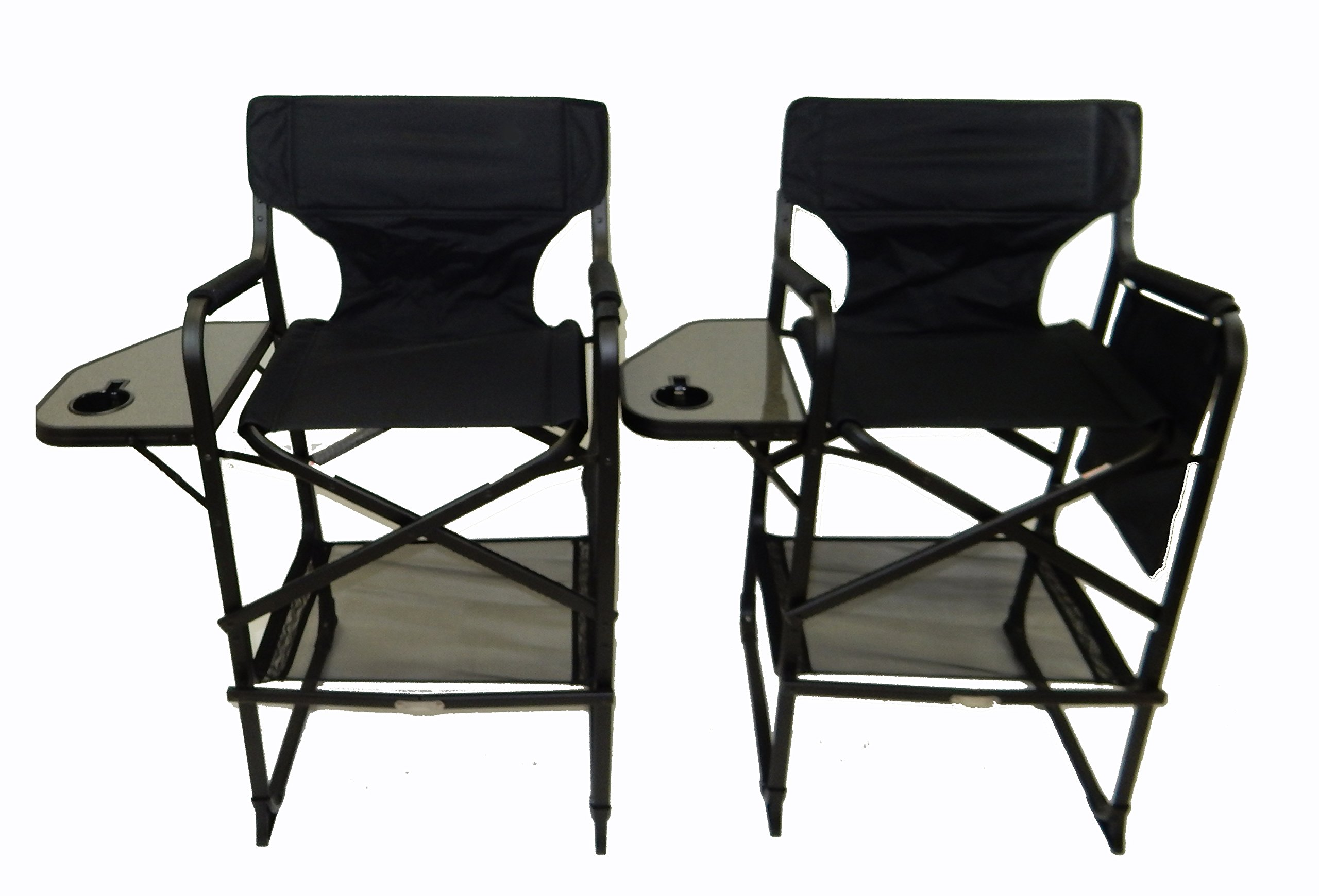 TWO PACK World Outdoor Products Lightweight PROFESSIONAL EDITION Tall Directors Chair,Side Table,Cup Holder,Automatic Footrest,Side Storage Bag,Under Seat Storage Net, REMOVABLE PATCH on Chair Back.