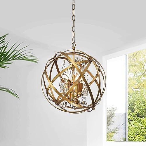 Benita Yellow-ish Gold 4-Light Metal Globe Crystal Chandelier