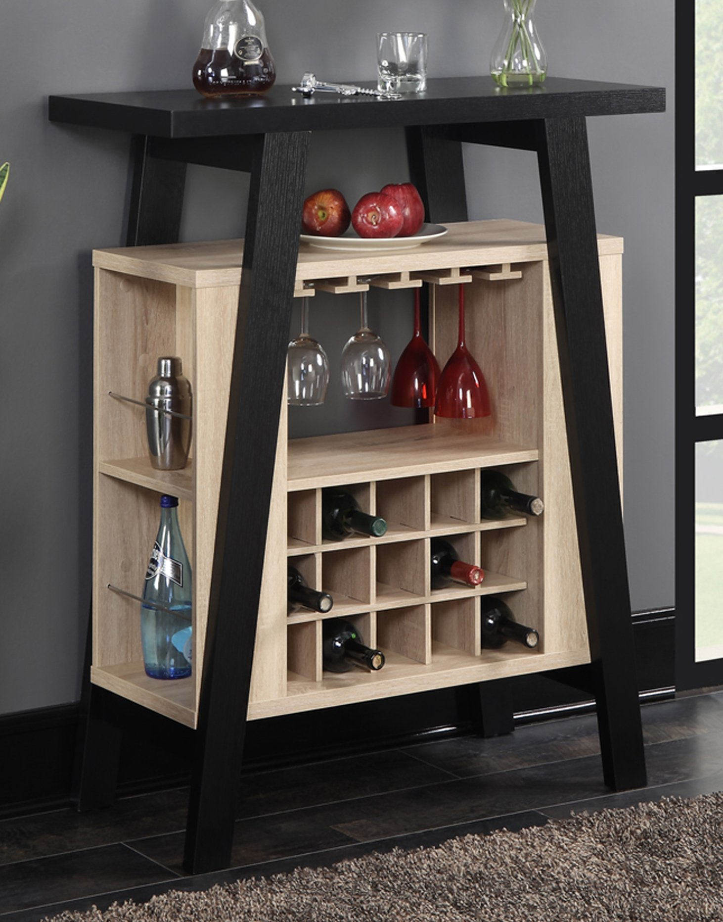 Convenience Concepts 121229WW Newport Bar Console, Black / Weathered White by Convenience Concepts