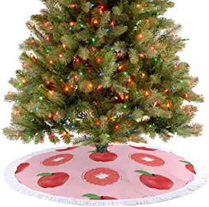 Amidaky Summer Pink Apples and Grapefruits Pattern Christmas Tree Skirt for Christmas Holiday Party Decoration Indoor and Outdoor 48''×48''