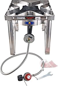 ARC SS4229S Outdoor Propane Burner, 0-20 PSI Adjustable Regulator & Steel Hose, NO Assembly Required Stainless Steel Outdoor Burner, Perfrct For Outdoor Cooking, Home Brewing and more, 200,000 BTU