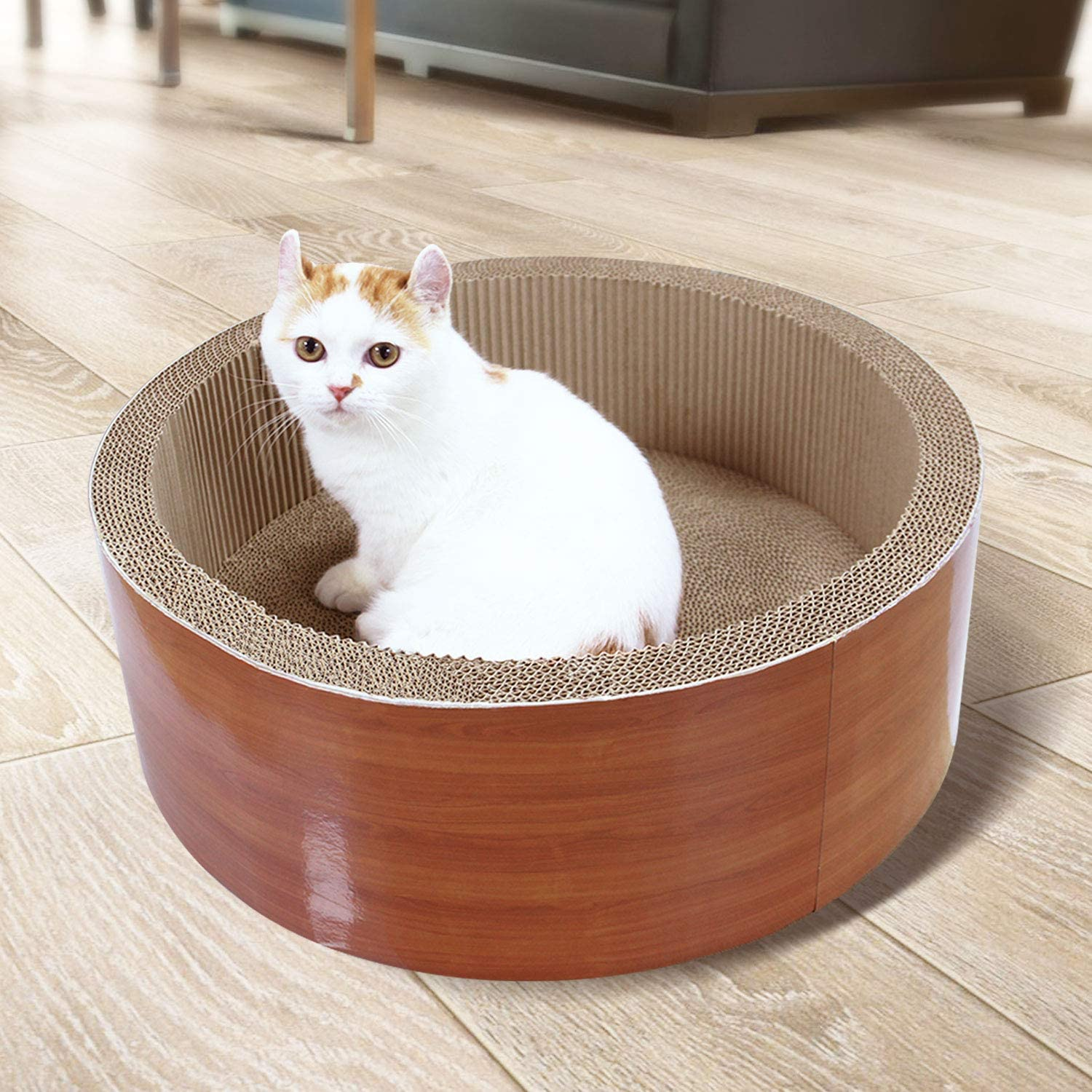 ScratchMe Cat Scratching Post Lounge Bed, Round Shape Cat Scratcher Cardboard Board Pads with Catnip, Durable Recycle Pad Toy Prevents Furniture Damage : Pet Supplies