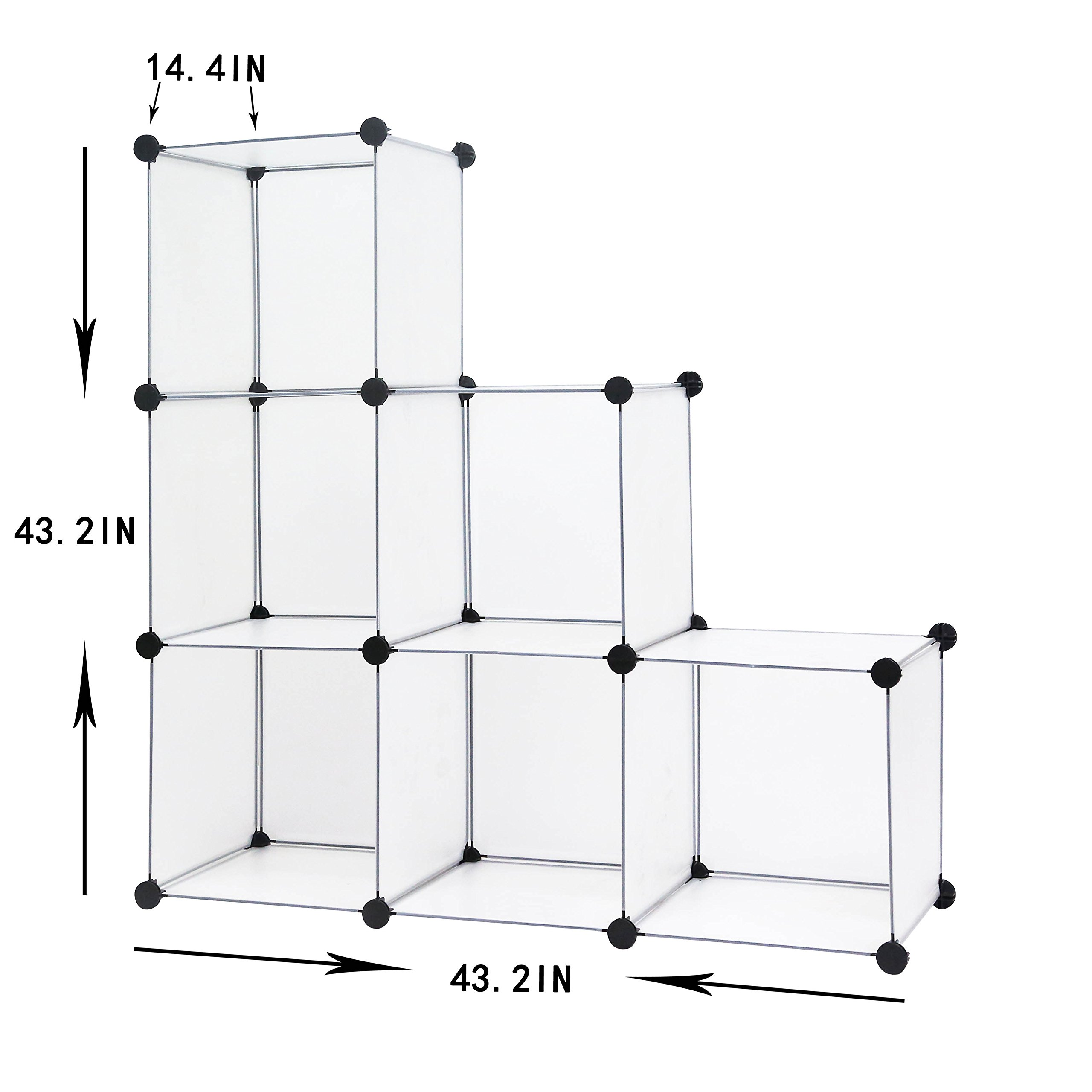 C&AHOME - DIY Bookcase Media Storage Standing Shelf Storage Cabinet Cube of 6, Semitransparent by C&AHOME (Image #6)