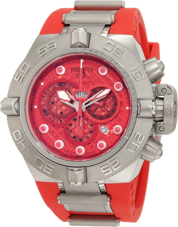Invicta Men s 1387 Subaqua Noma IV Chronograph Red Dial Red Silicone Watch