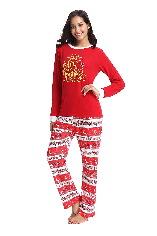 Red AMONIDA 2018 Christmas Pajama Set for Women Cotton Sleepwear Long Sleeve Pj Set