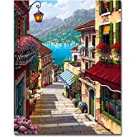 THEWHITESHOP Paint by Numbers Kits DIY Oil Painting Kit Paint by Numbers DIY Acrylic Painting Kit Harbour Town Canvas Painting for Adults Kids Beginner Home Decoration without Wooden Frames 16x20""