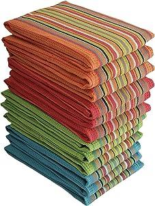 Simpli-Magic 79335 Kitchen Dish Towels, 16x27 Inches, Salsa Stripe, 8 Pack, Multi