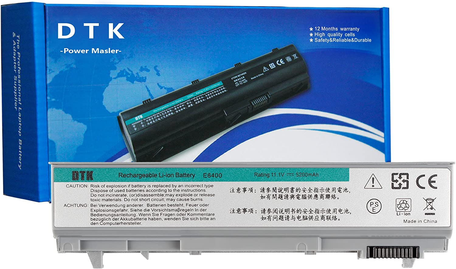 DTK 0RG049 PT434 KY265 W1193 Laptop Battery Replacement for Dell Latitude E6400 E6410 E6500 E6510 Precision M2400 M4400 M4500 Notebook 11.1V 5200mAh 6-Cell