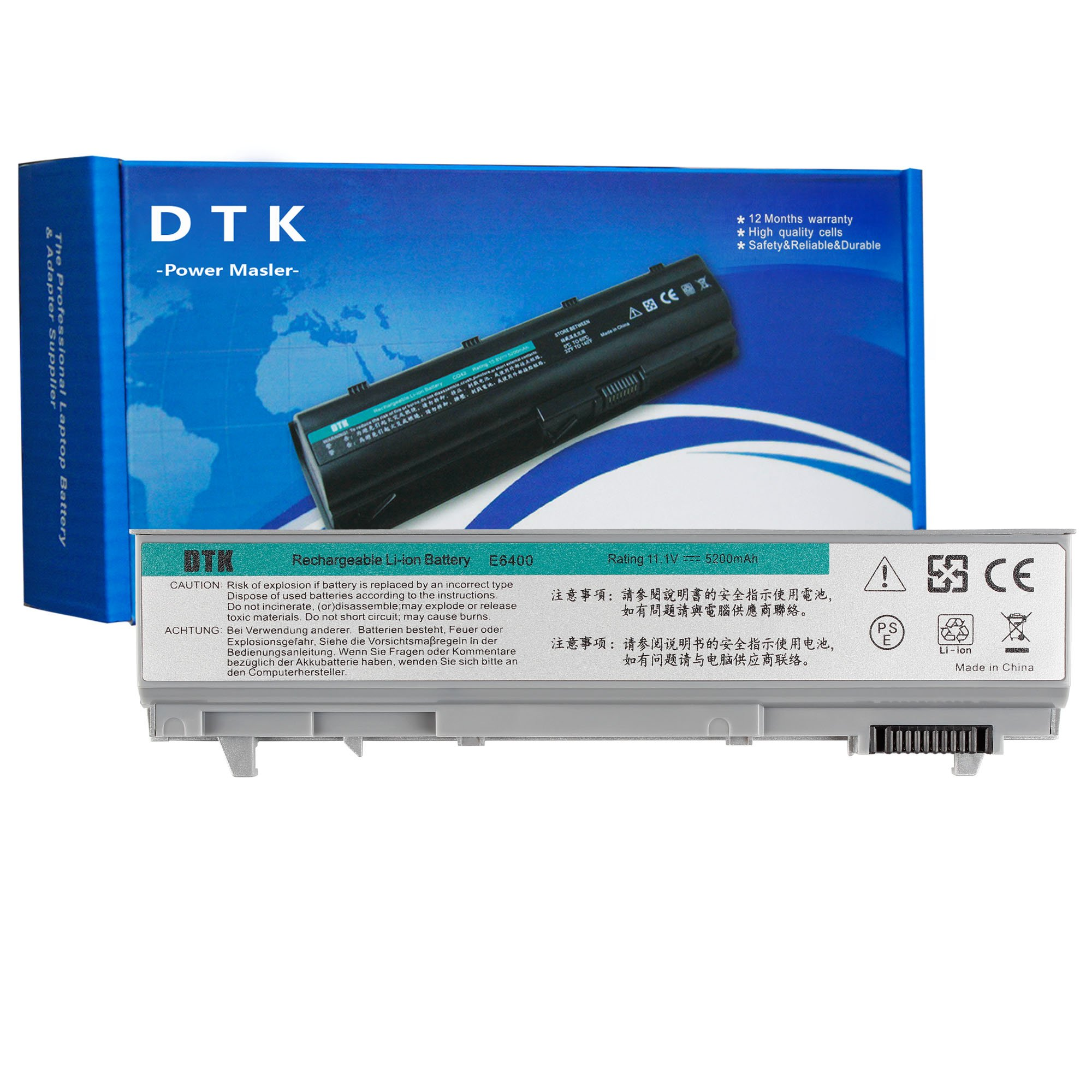 Dtk New Laptop Notebook Battery Replacement for Dell Computer Latitude E6400 E6410 E6500 E6510 Precision M2400 M4400 M4500 6-cell