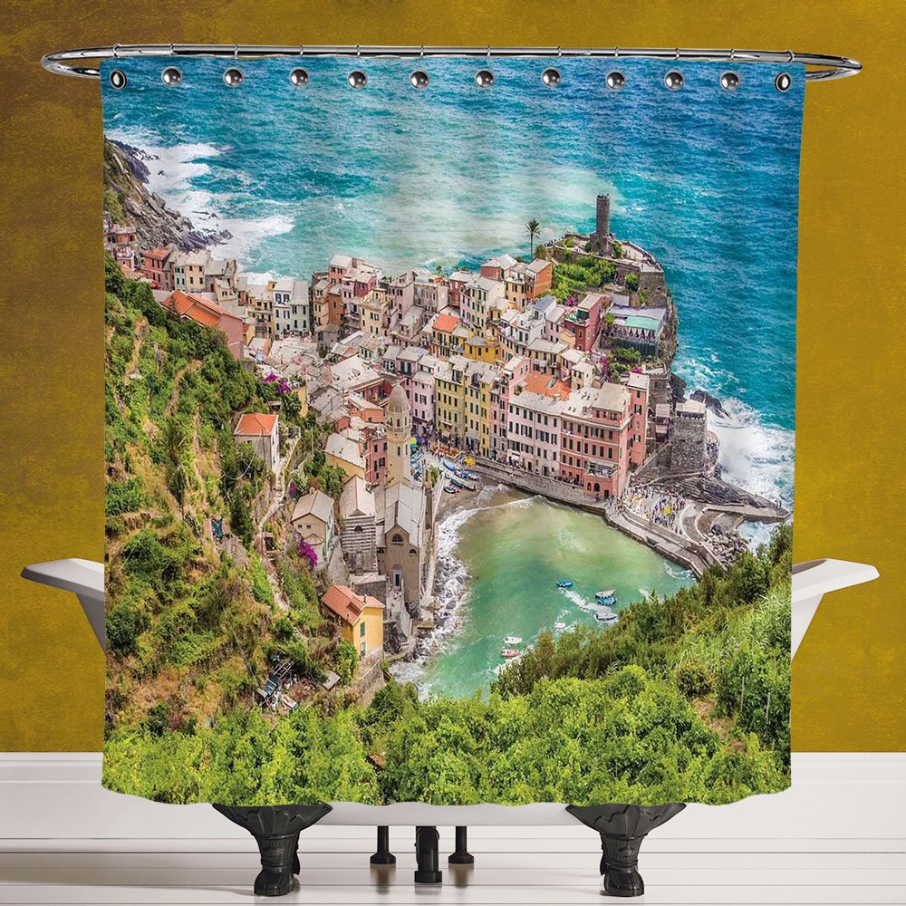 Polyester Shower Curtain 3.0 [Coastal Decor,View of Vernezza Famous Fisherman Village Cinque Terre Italy Ligurian Sea,Multicolor] Bathroom Accessories with Hooks