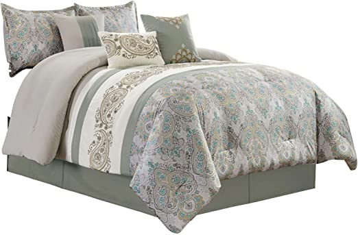Chezmoi Collection 3-Piece Seafoam Green Floral Medallion Embossed Bedspread Set