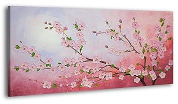 Ys Art Tableau Peinture Acrylique Fleur De Cerisier Peint à La Main