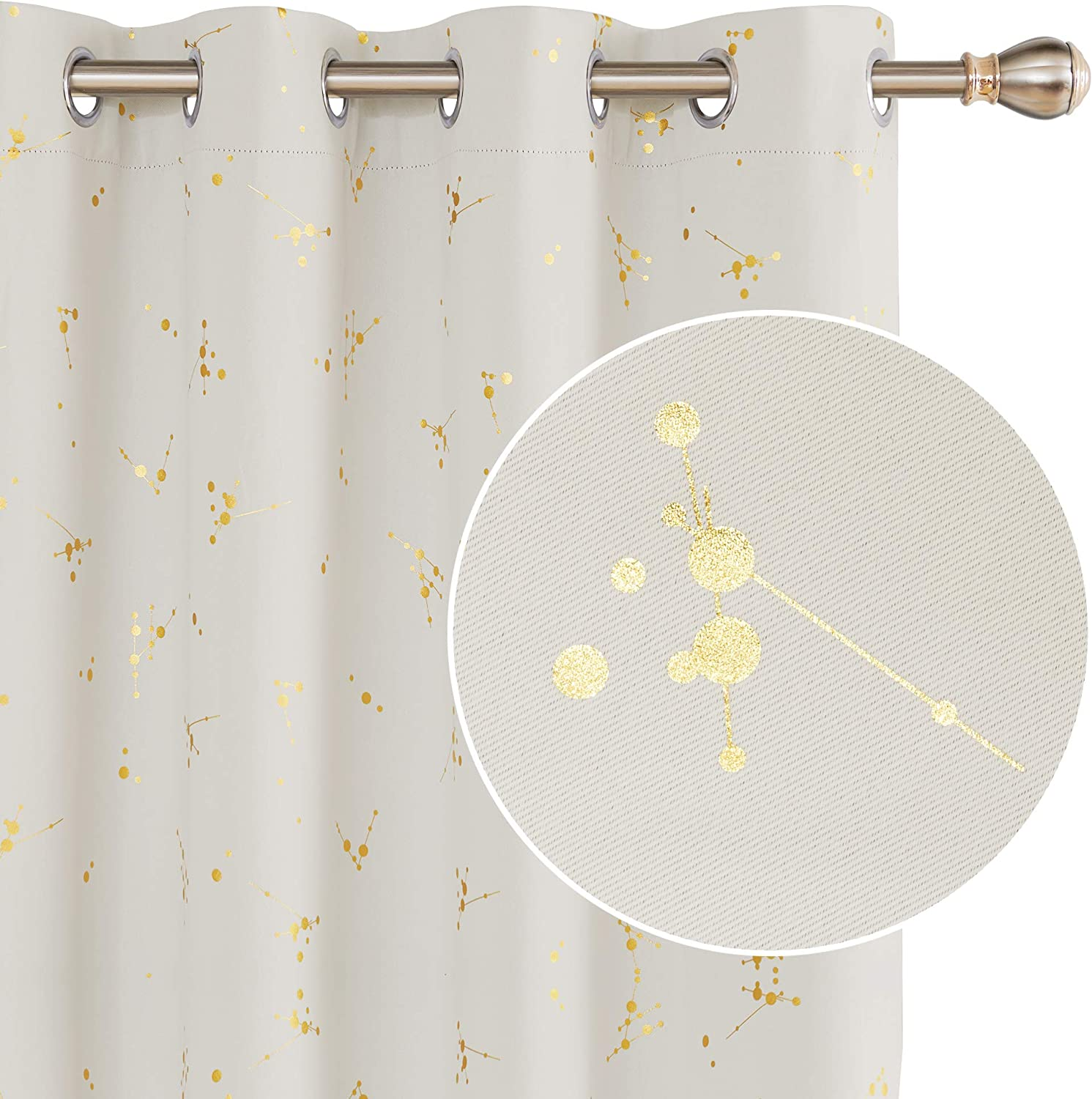 """Deconovo Ring Top Curtains Eyelet Blackout Curtains Gold Constellation Printed Thermal Insulated Curtains for Kids Bedroom Beige W66 x L54 One Pair 2xW66""""xL54"""" Beige"""