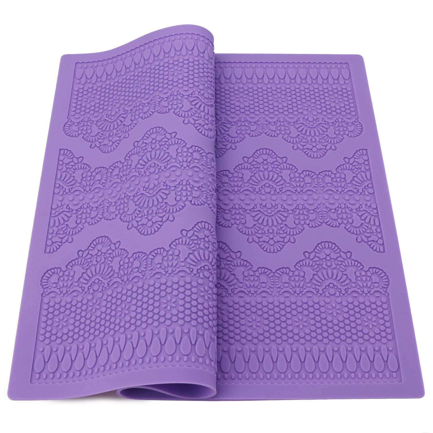 Cake Decration Mat, Beasea Flower Pattern Silicone Mold Fondant Cake Cutter Molds Sugarcraft Icing Decorating Flower Lace Modelling Tools Purple