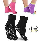 MissLuen Yoga Socks 3 Pairs Non Slip Grip Socks Full Toe Pilates Fitness Sport Socks for Women UK Size 2.5-7