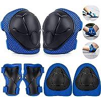 TOSHIHIKO Protecciones Skate Niño, 6 Pack Juego de Protección Rodilleras y Cojines de Codo para Niños Patinaje Ciclismo…
