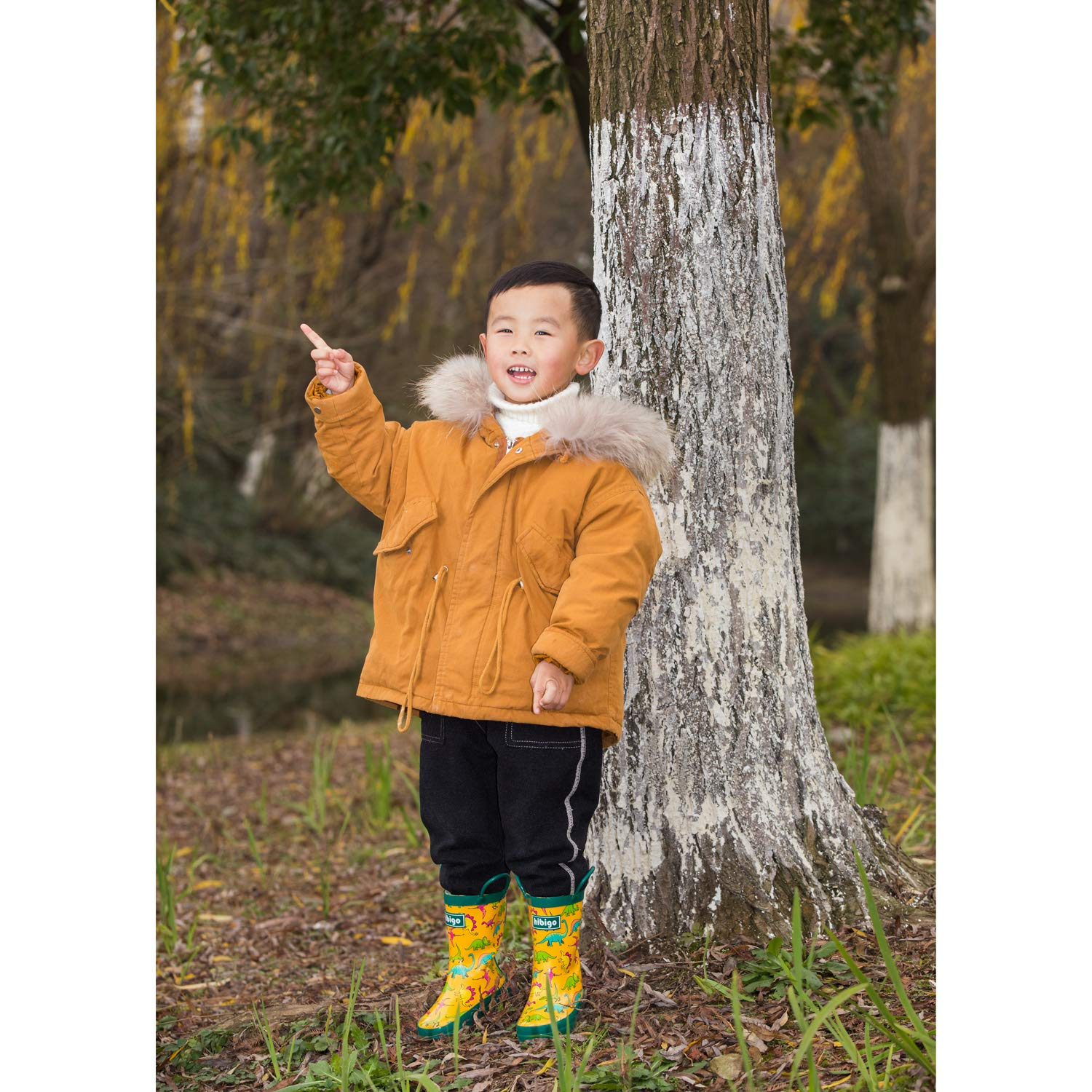 Pattern hibigo Childrens Natural Rubber Rain Boots with Handles Easy for Little Kids /& Toddler Boys