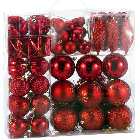 Christbaumkugeln Amazon.Deuba Weihnachtskugeln Rot 103 Christbaumschmuck Aufhanger Christbaumkugeln Fur Den Weihnachtsbaum Weihnachtsbaumschmuck Weihnachtsbaumkugeln