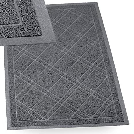 Exceptionnel SlipToGrip   (Gray) Universal Plaid Door Mat With DuraLoop   XL  42u0026quot;x36u0026quot