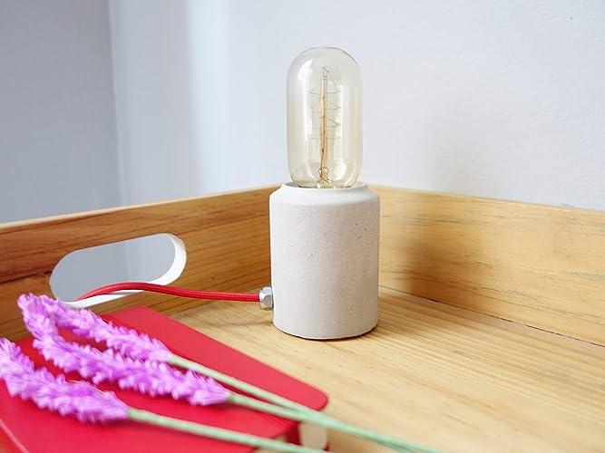 Lámpara de mesa en cemento gris: Amazon.es: Handmade