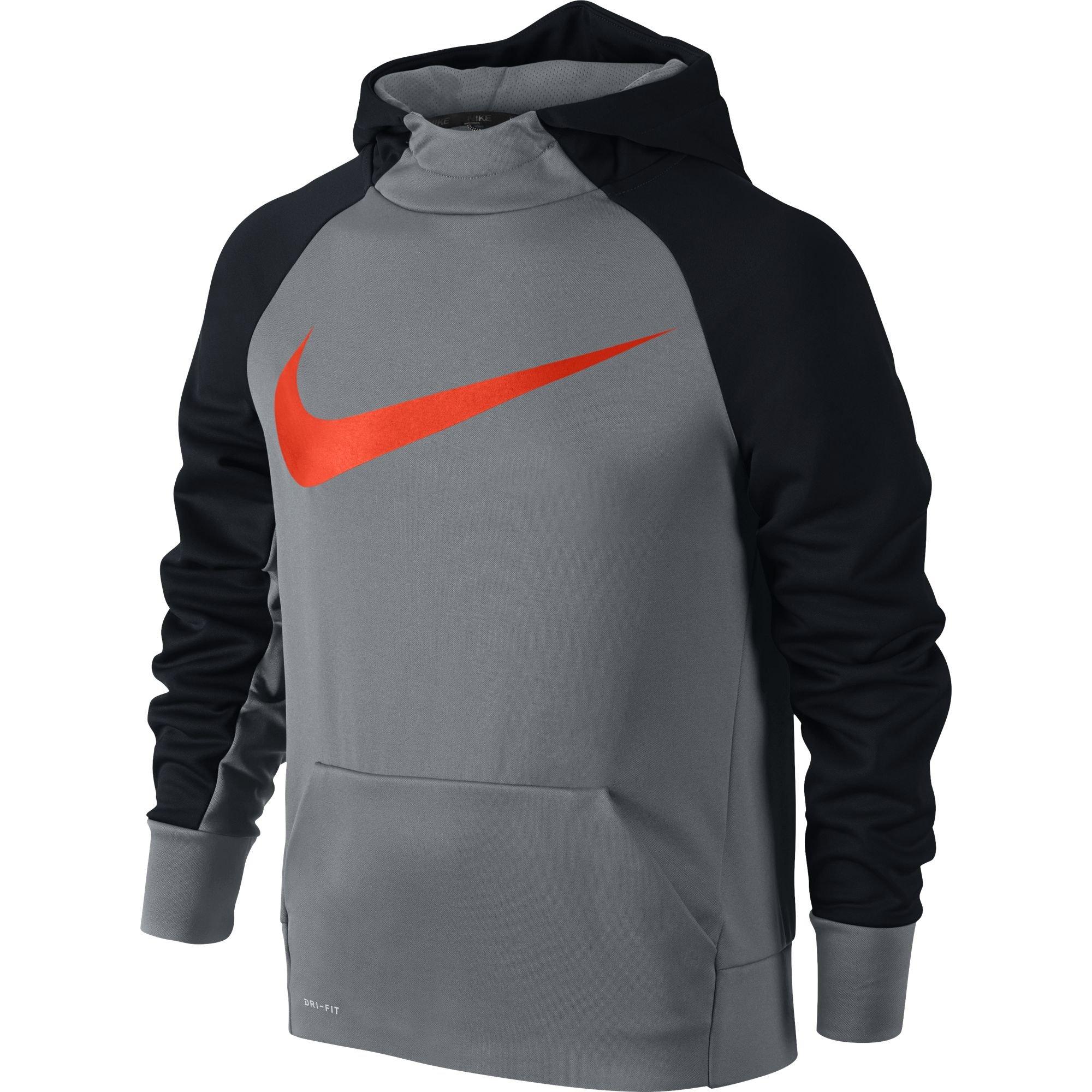 Nike Boy's Therma Training Hoodie Cool Grey/Black/Hyper Crimson Size Small