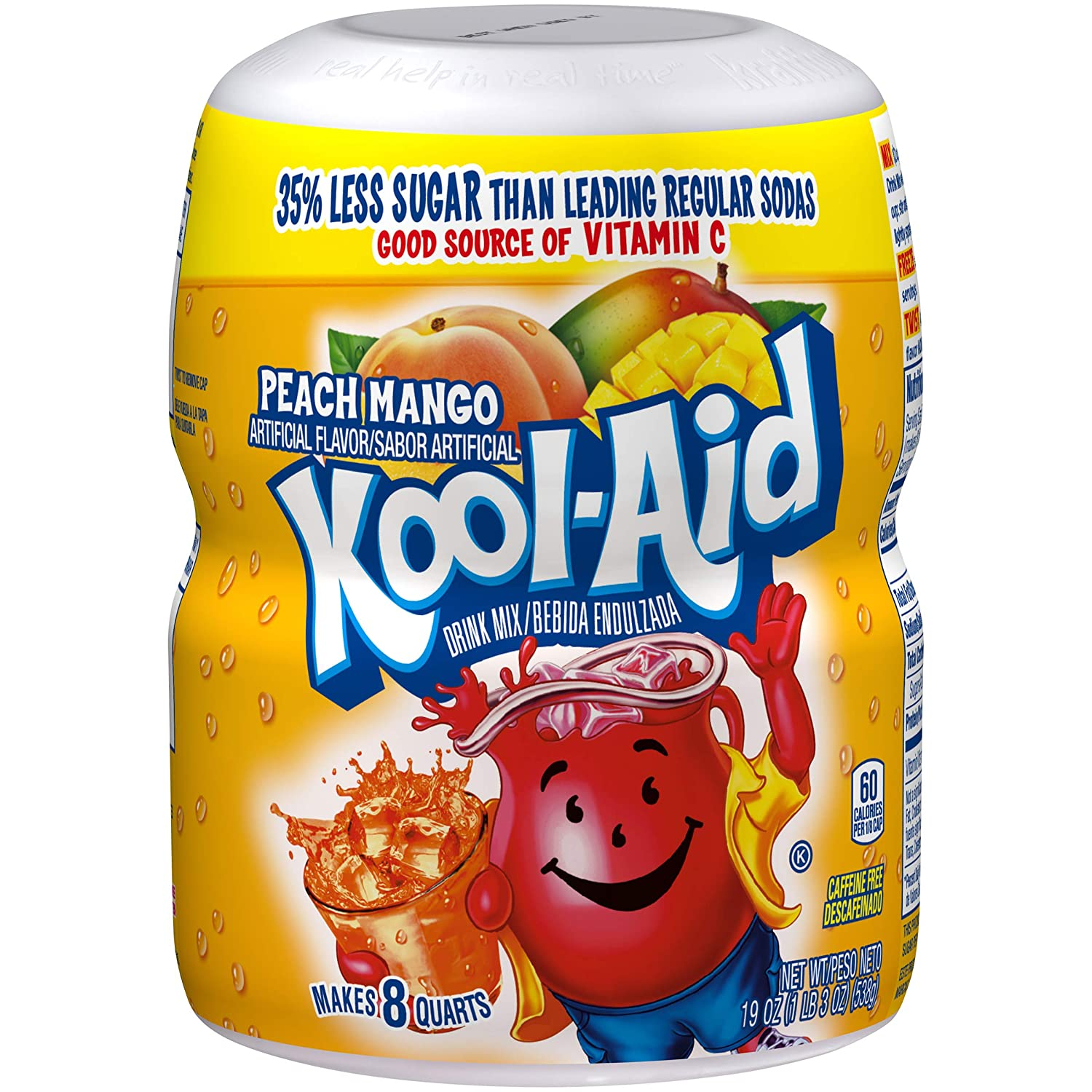 Kool-Aid Sweetened Peach Mango Powdered Drink Mix, Caffeine Free, 19 oz Jar
