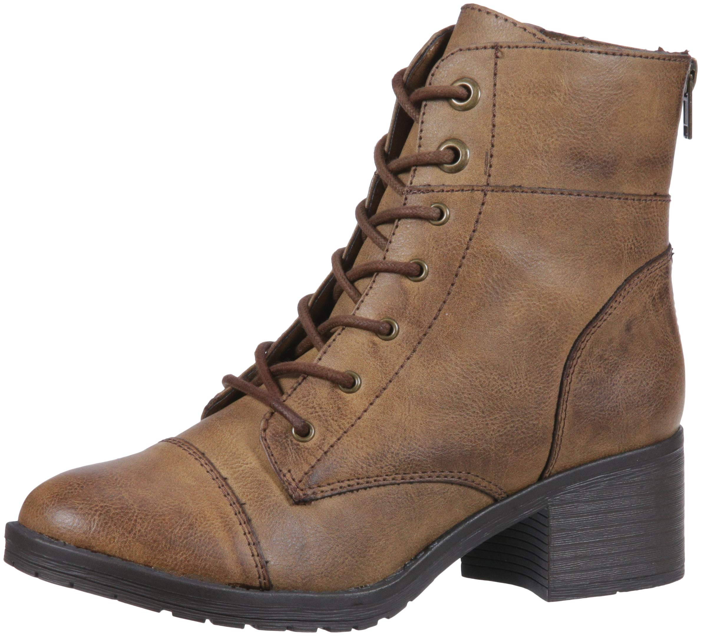 Rampage Women's Krista Lace-up Chunky Heel Bootie Combat Boot, Brown Smooth, 7 M US