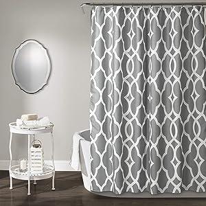 "Lush Decor, Gray Connor Geo Shower Curtain, 72"" x 72"""