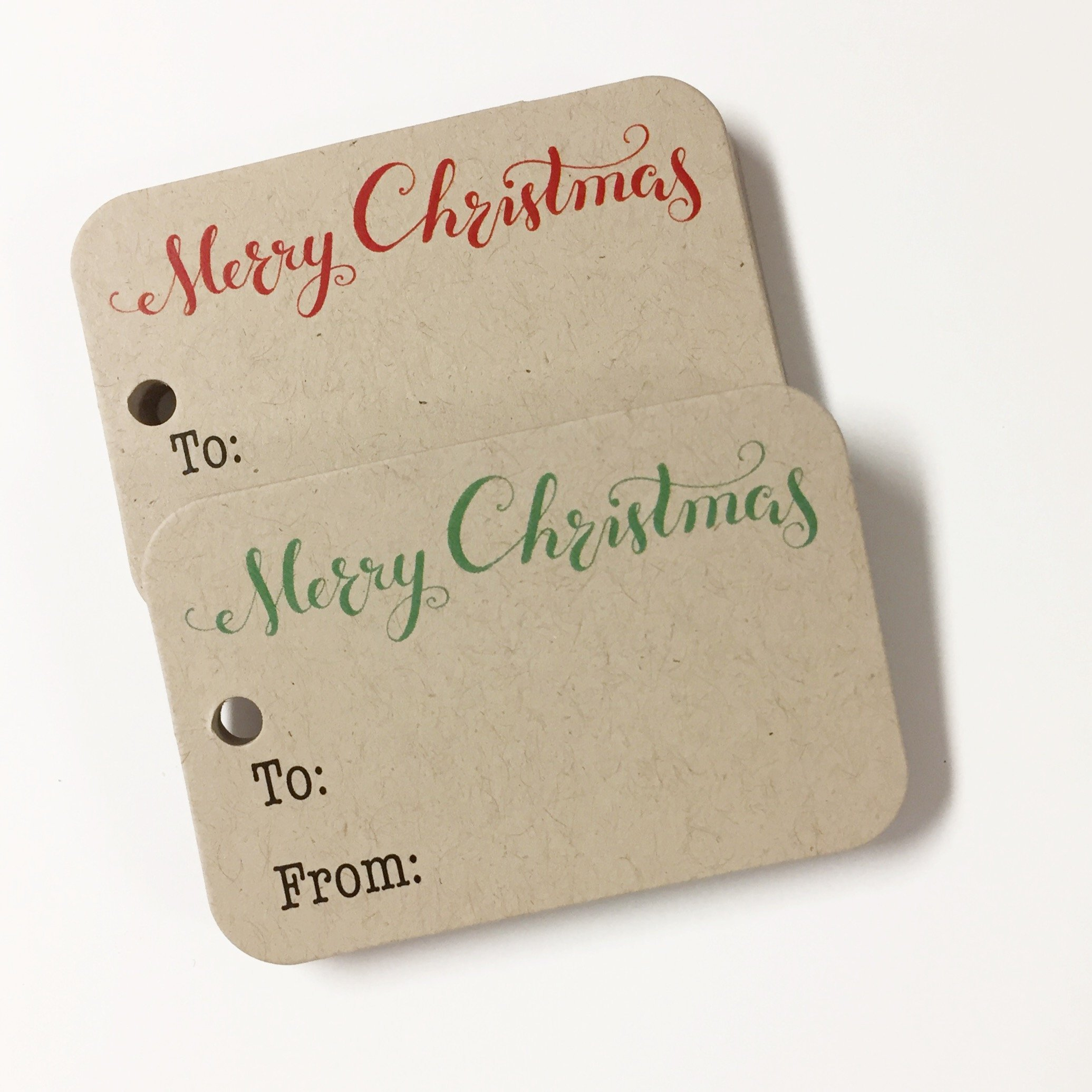 36 Small Christmas Gift Tags, Kraft Merry Christmas Gift Wrap Tags (RR-111-KR)