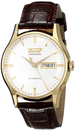 Amazon.com  Tissot Men s T0194303603101 Visodate Yellow Gold-Tone ... 76362cf68b