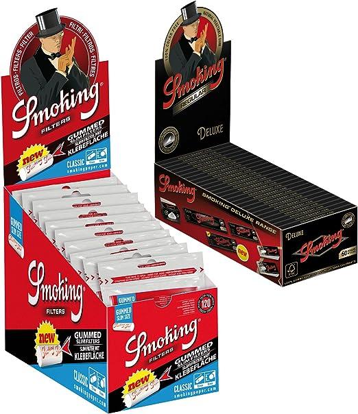 Compra 1 Caja de Papel de Liar Normal Smoking Deluxe 50 x 60 Hojas Papel 1 Caja de Filtro de Humo Classic Slim 30 x 120 Filtro de Cigarrillos 6 mm en Amazon.es