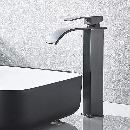 NeierThodore ORB Waterfall Bathroom Vessel Basin Faucet Single Handle Single Hole Lavatory Basin Faucet Oil Rubbed Bronze