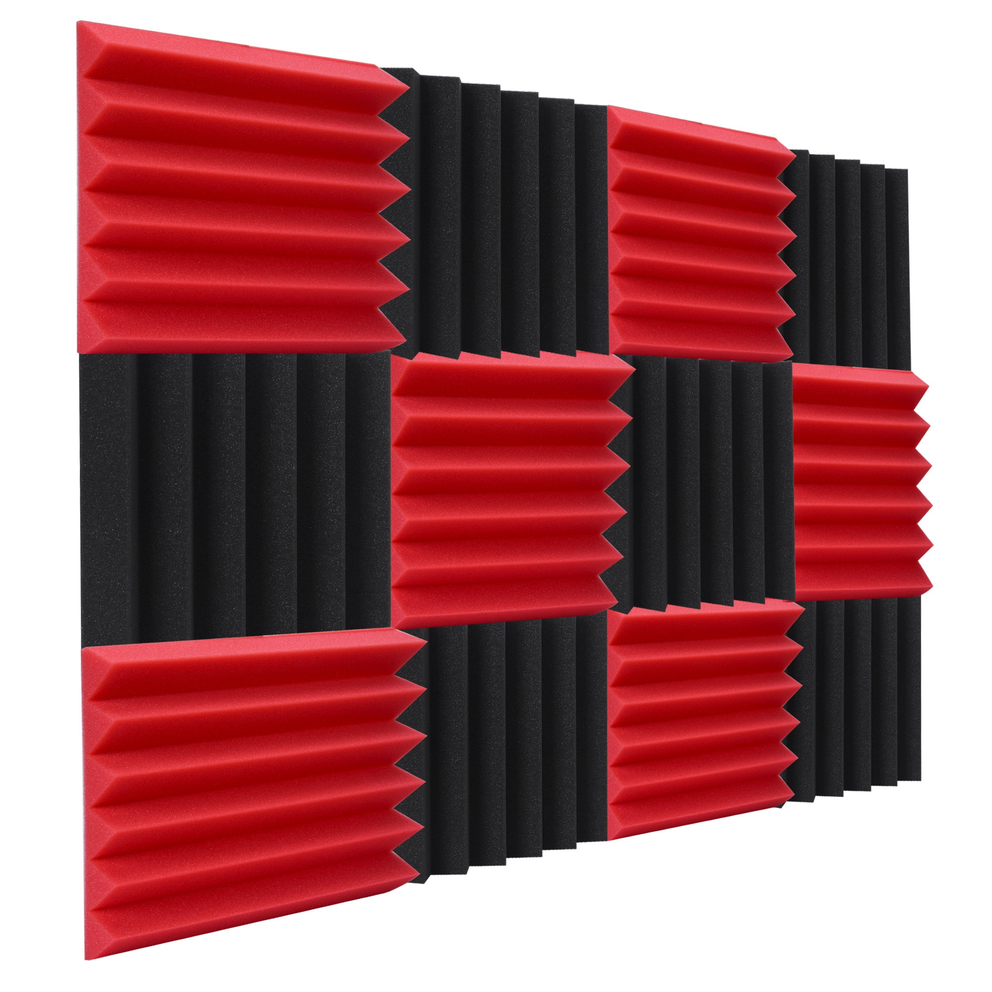 "Double Thick Studio Acoustic Wedge Foam Panels 12 Pk of 12""x12""x2"" (Red/Charcoal) by NRG Acoustic to Remove Noise, Enhance Sound. Wall Foam Panels, Sound Proof Padding for Studios Vloggers, and More."