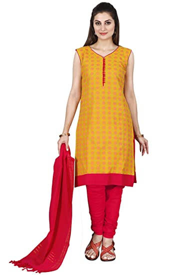 9c496c7f25 MANMANDIR Women's Cotton Handloom Unstitched Salwar Suit Dress Material  (Yellow, Free Size)