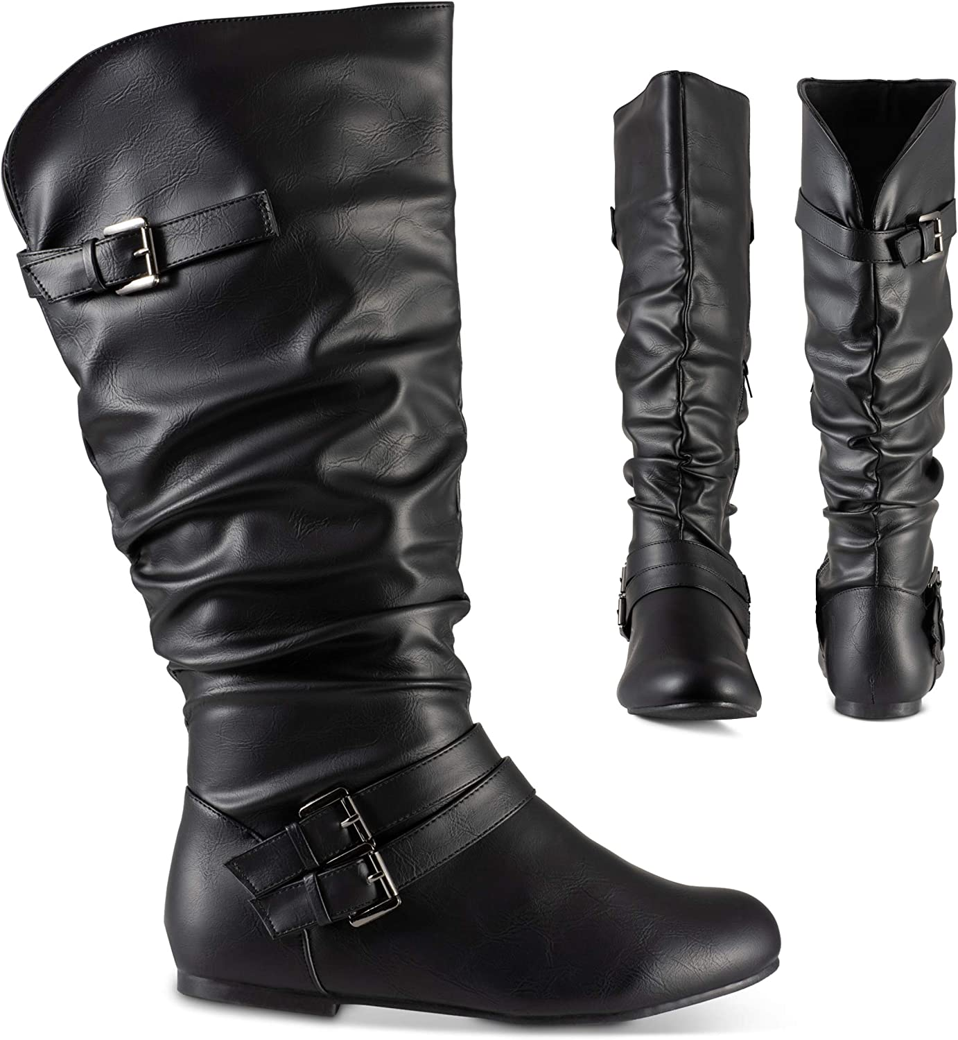 Flat Mid Calf Slouch Boots, Wide Calf