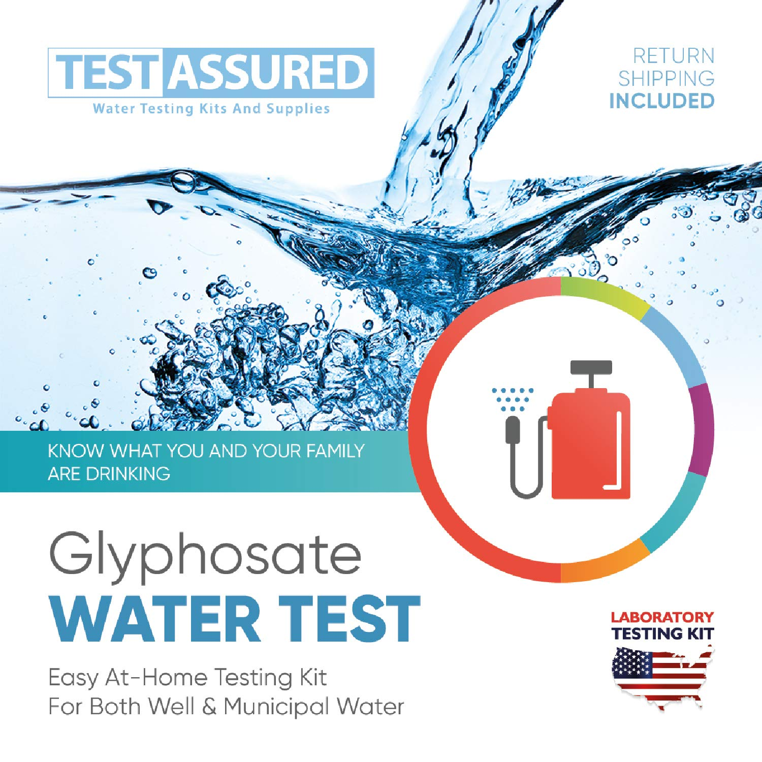 Test Assured Glyphosate Water Test Kit - Easy at-Home Municipal and Well Water Test Kit - Mailed-in Laboratory Glyphosate Testing Kit by Test Assured